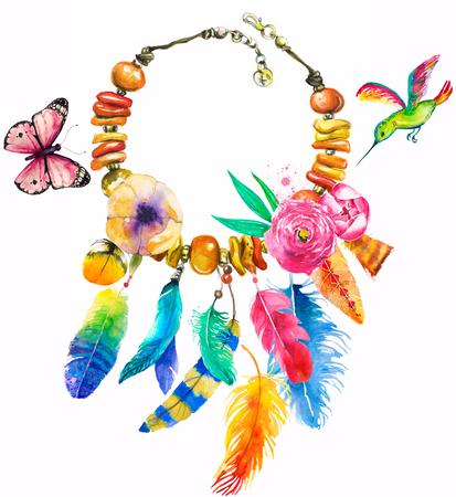 보헤미안 스타일의 목걸이와 수채화 그림 스톡 콘텐츠