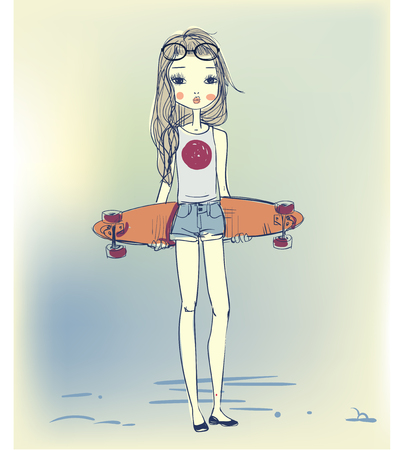 sunglasses cartoon: two cute sketchy summer girl with skateboards