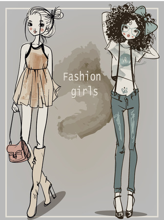 cute fashion cartoon girls in sketchy style Imagens - 54621671