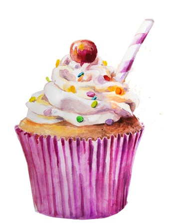 cupcakes: Hand drawn watercolor sweet cupcake with berry Stock Photo