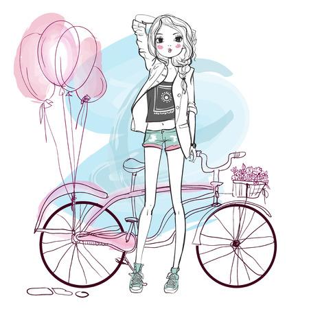 자전거와 함께 두 귀여운 스케치 여름 소녀
