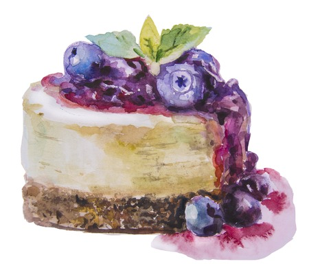 Hand drawn watercolor sweet cake with blueberry