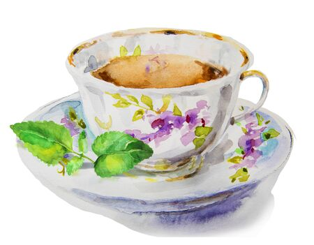 watercolor tea cup with mint leaves Imagens - 54621720