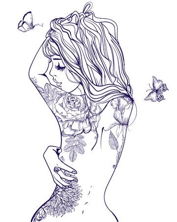 mujer con rosas: joven y bella mujer con tatuaje en la espalda