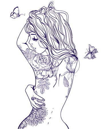 young beautiful woman with tattoo on her back Ilustração