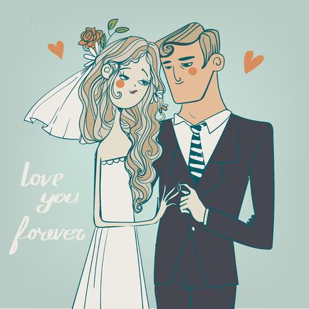 Wenskaart voor bruiloft. De bruid en bruidegom Stock Illustratie