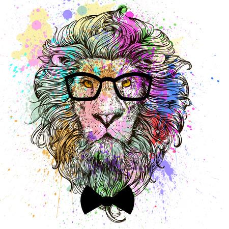 ライオン ファッション メガネと弓の文字の肖像画