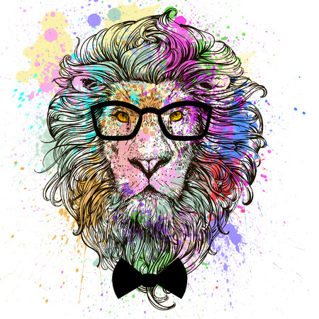 lion fashion character portrait with glasses and bow Фото со стока