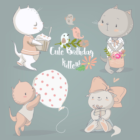 kitten cartoon: birthday vintage set with cute cartoon kittens