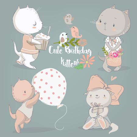 verjaardag vintage set met leuke cartoon kittens