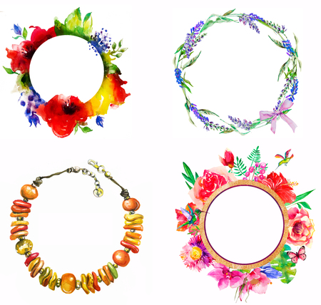 graceful: Beautiful round floral wreath of vintage garden.