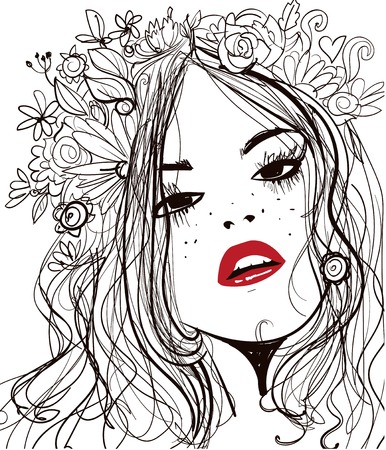 young leaves: portrait of young beautiful woman wirh flowers Illustration