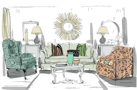 coffee table: home interior with sofa and coffee table - vector illustration