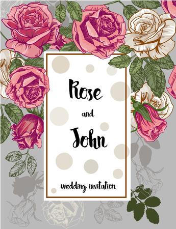anillos boda: Hermosa tarjeta con rosas. ilustración vectorial Vectores