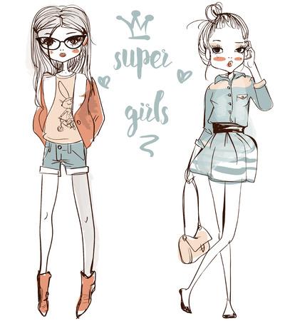 leuke mode-cartoon meisjes in schetsmatige stijl