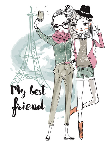 cute fashion cartoon girls in sketchy style