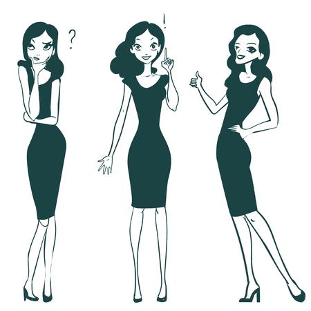 fille mignonne de bande dessinée regardant, penser ou de prise de décision