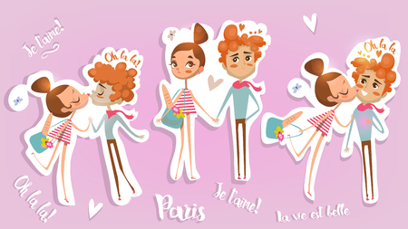 vacance: cute cartoon couple in love - card for Valentines Day