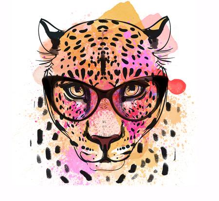 안경과 guepard 패션 다채로운 캐릭터 초상화 스톡 콘텐츠