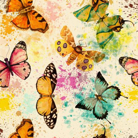 明るいカラフルな蝶の水彩のシームレス パターン