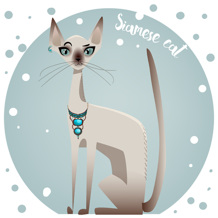 kitten small white: spotted pedigreed  colorful cute cat - vector illustration