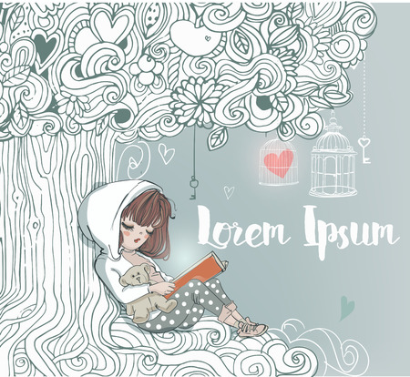 fairy tail: little cute girl reading under magic tree