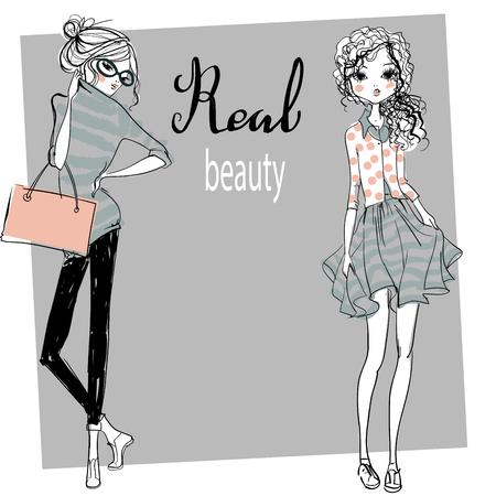 cute fashion cartoon girls in sketchy style Imagens - 55900852