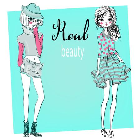 girl glasses: cute fashion cartoon girls in sketchy style