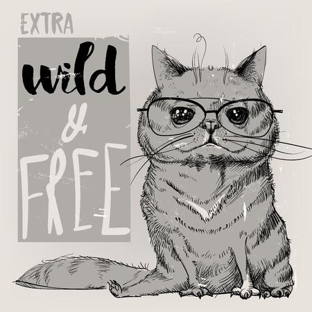 Retrato lindo de un gato. Ilustración del vector.
