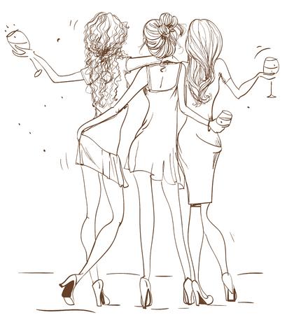 Nette Art und Weise Cartoon Mädchen in flüchtigen Art Standard-Bild - 55900857