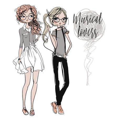 portrait young girl studio: cute fashion cartoon girls in sketchy style