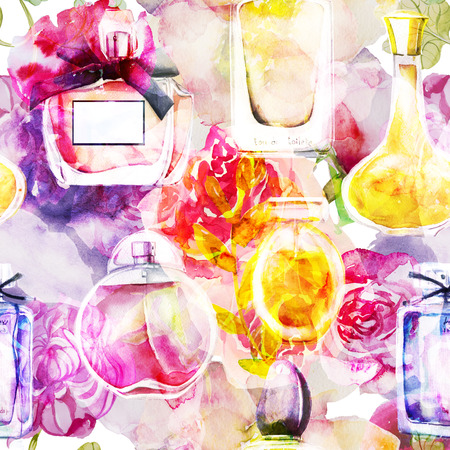 seamless pattern with watercolor perfumes and flowers