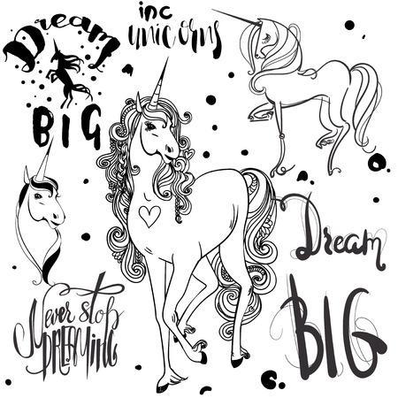 phrases: set with ink  sketched unicorns and phrases