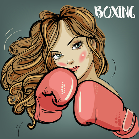 Vector beautiful woman during fitness time and boxing