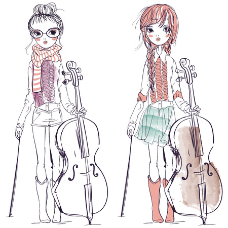 fiddlestick: the illustration of a beautiful girls who plays the cello