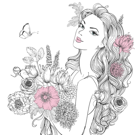 retrato de mujer joven y bella con el avance de las flores Ilustración de vector