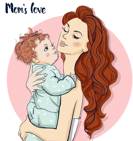 little child: beautiful woman with little child