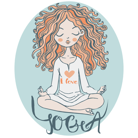 cartoon schattig meisje met rode haren maakt yoga
