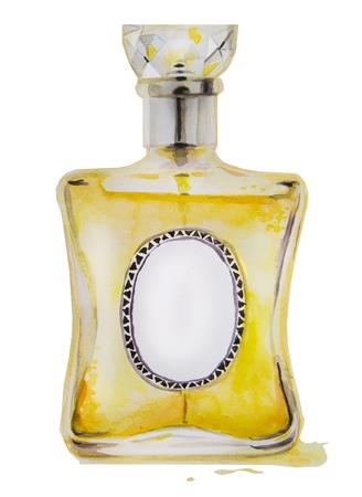 eau de perfume: watercolor hand drawn bottle with yellow perfume