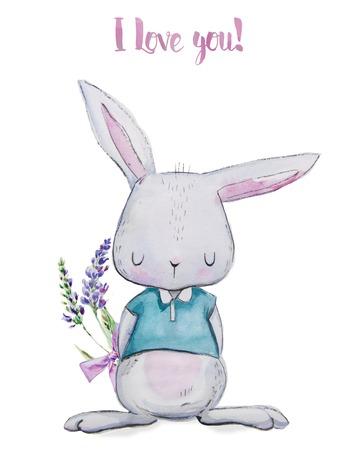 hare: cute watercolor hare