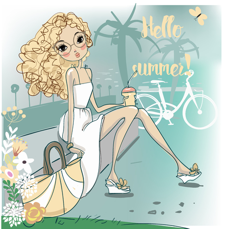 vacance: cute fashion cartoon girl in sketchy style