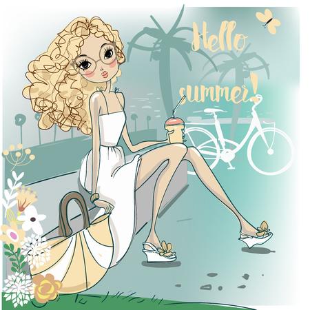 vacance: cute fashion cartoon girl in sketchy style