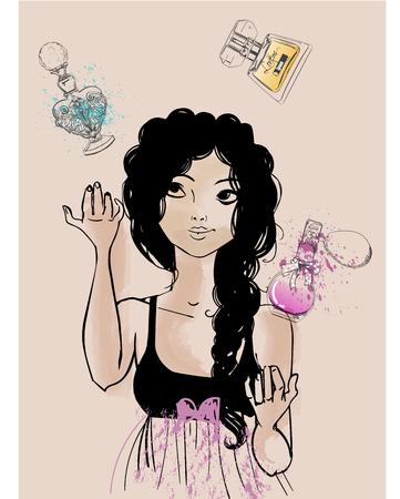 Vintage-Mode Mädchen mit Parfüm. Vektor-Illustration