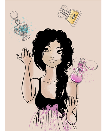 Vintage mode meisje met parfums. vector illustratie