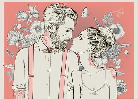 꽃 요소와 hipster 커플입니다. 삽화