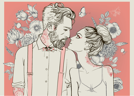 hipster couple with floral elements. illustration