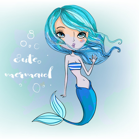 cute cartoon colorful blue mermaid Imagens - 56446073