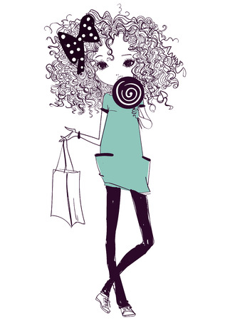 curle: cute fashion cartoon girl in sketchy style