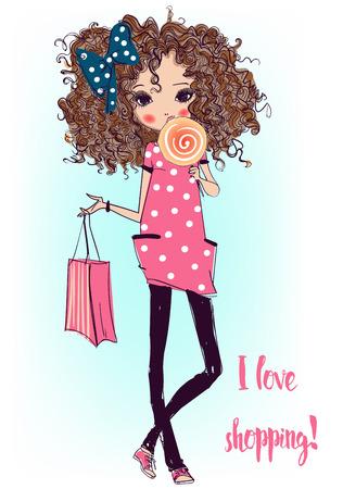 大ざっぱなスタイルでかわいいファッション漫画少女