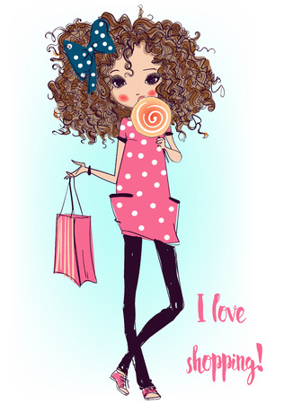 Schattige mode cartoon meisje in schetsmatige stijl Stockfoto - 56446190